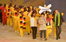 Stamen Stantchev walks out with the Uganda Team at Special Olympics Opening Ceremony