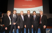President of SO Europe Eurasia Mary Davis, President Stoyanov, Raymond Lane, Stamen Stantchev, Tim Shriver and Oliver Sodiek